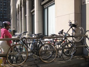 An improvised bike rack in the New Center