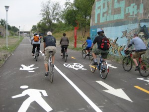 Biking on the Dequindre Cut