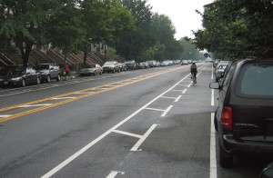 Buffered bike lane example from NYC