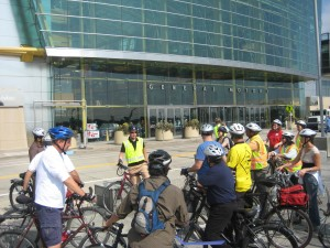 Mike Amdsen discusses possible improvements to the bike lane in front of GM's RenCen headquarters