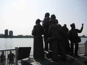 Underground Railroad memorial on the Detroit RiverWalk near Hart Plaza