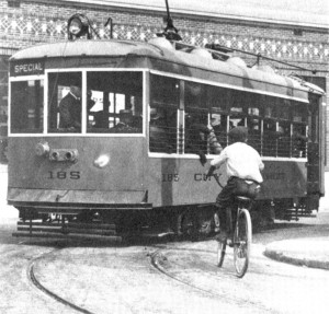 Detroit Streetcar and bicyclist