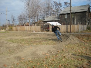 Brian rides the Corktown Pump Track