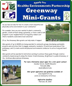 HEP Detroit Greenway Mini-grants